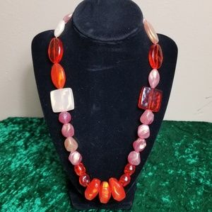 Abstract Orange and Pink Beaded Necklace